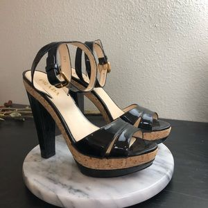 PRADA SZ 8.5 Or 38.5 PATENT LEATHER HEELS SHOES